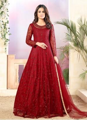 Net Red Anarkali Salwar Suit