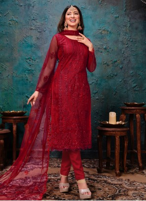 Net Red Churidar Designer Suit