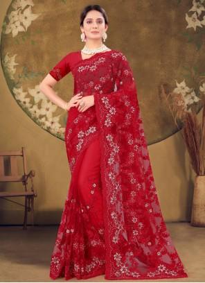 Net Red Stones Designer Saree