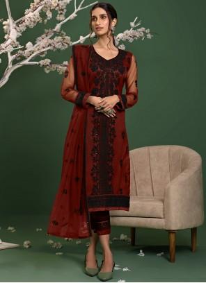 Net Red Embroidered Salwar Kameez