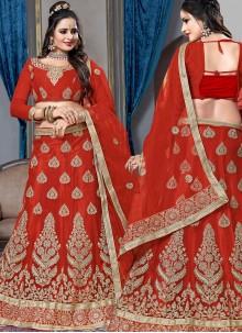 Net Red Lace Lehenga Choli
