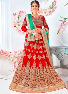 Net Red Patch Border Lehenga Choli