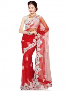 Net Red Zircon Work Classic Saree