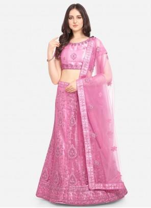 Pink Net Resham A Line Lehenga Choli