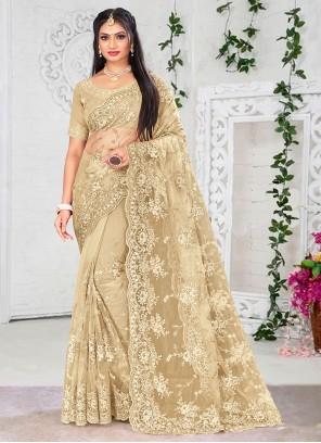 Net Resham Beige Designer Saree