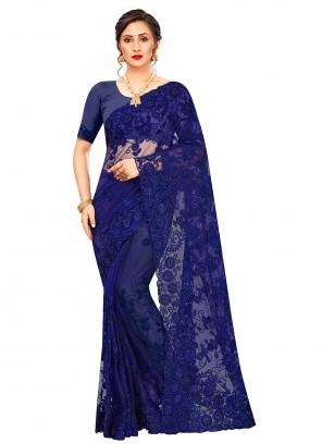 Net Resham Embroidered Blue Classic Saree