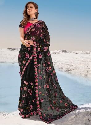 Net Resham Classic Saree in Black