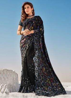 Net Resham Contemporary Saree in Black