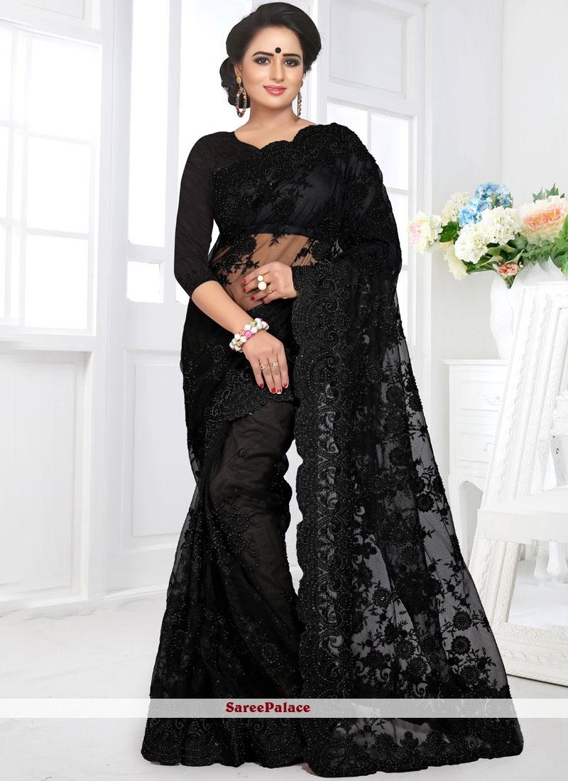Black Net Resham Designer Saree