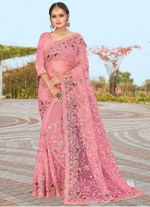Pink Net Resham Designer Saree