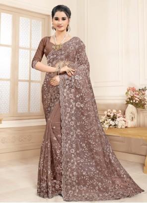 Net Resham Designer Saree in Brown