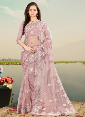 Net Resham Designer Saree in Lavender