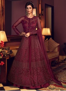 Net Resham Floor Length Anarkali Salwar Suit