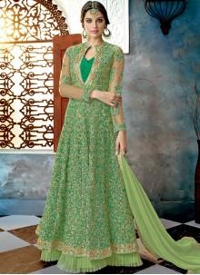 Green Net Resham Floor Length Anarkali Suit