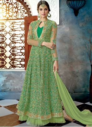Green Net Resham Floor Length Anarkali Suit