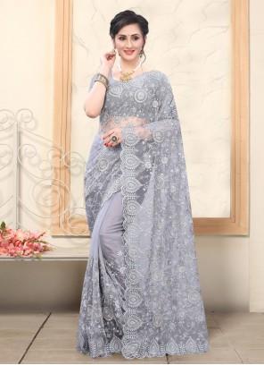 Net Resham Grey Designer Saree
