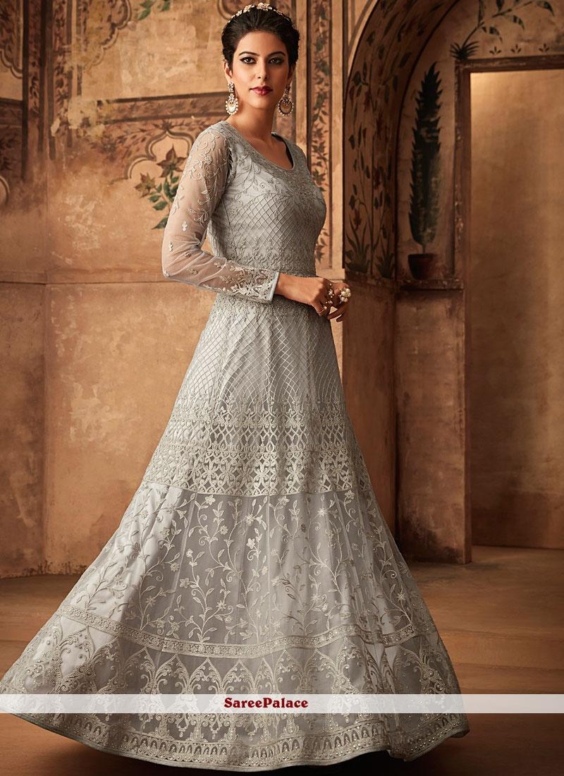 Net Resham Grey Floor Length Anarkali Suit