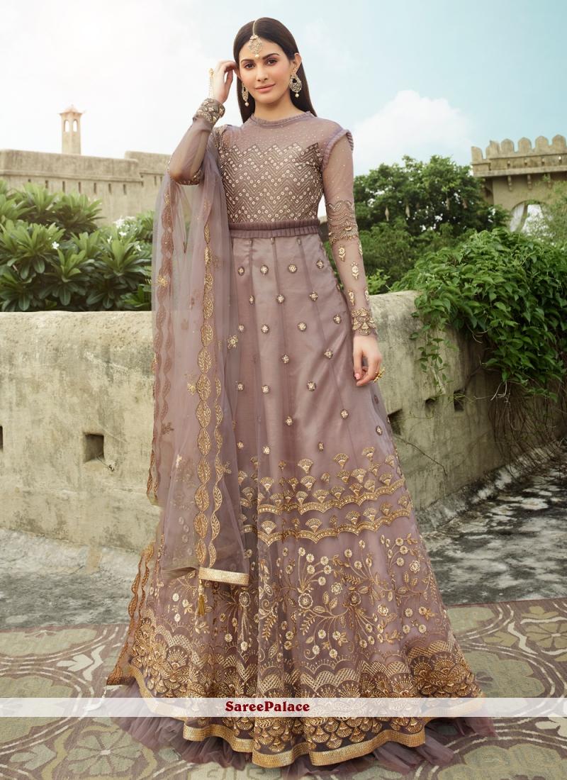 Net Resham Lavender Floor Length Anarkali Suit