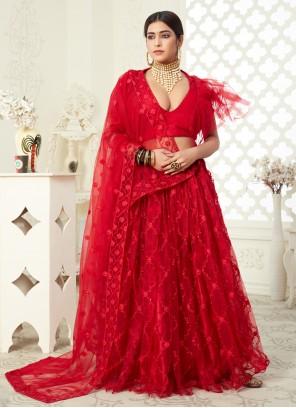 Net Red Resham Lehenga Choli