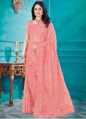 Net Resham Pink Classic Saree