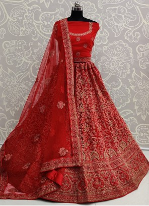 Net Resham Red A Line Lehenga Choli