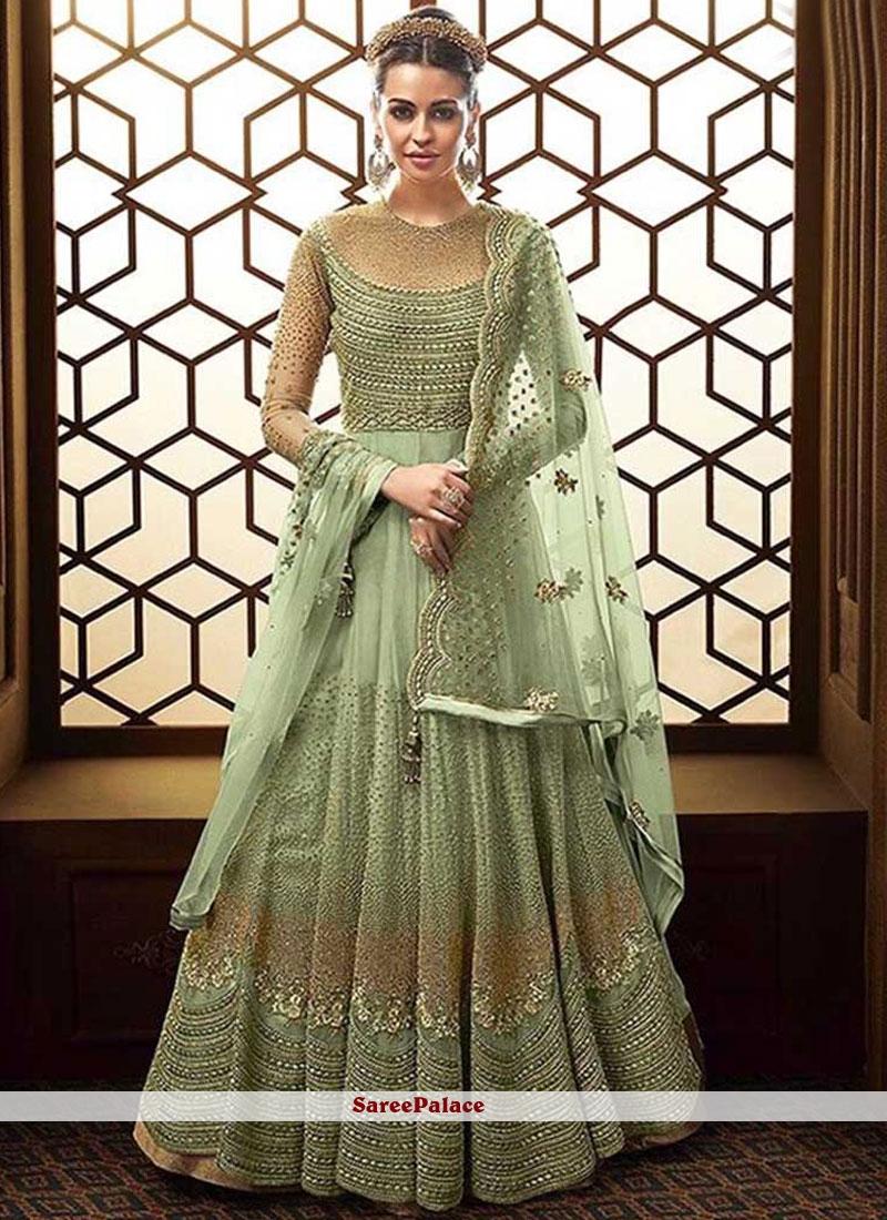 Net Resham Sea Green Floor Length Anarkali Suit