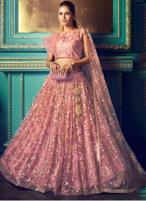 Net Resham Trendy Pink Lehenga Choli