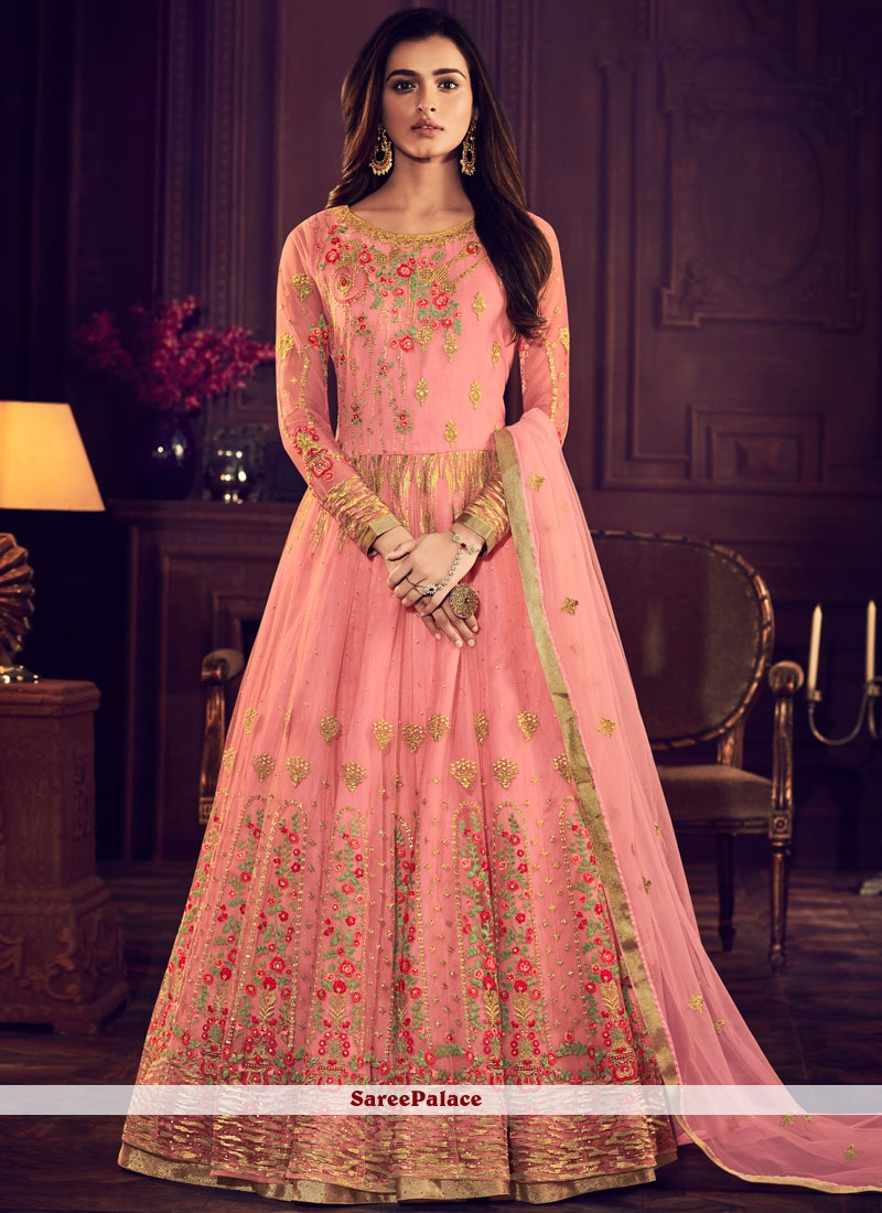 10b7100d61 Buy Net Rose Pink Resham Floor Length Anarkali Suit Online