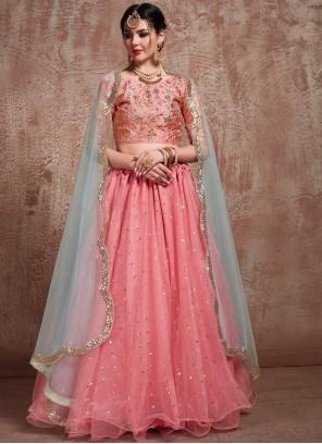 Net Rose Pink Trendy Lehenga Choli