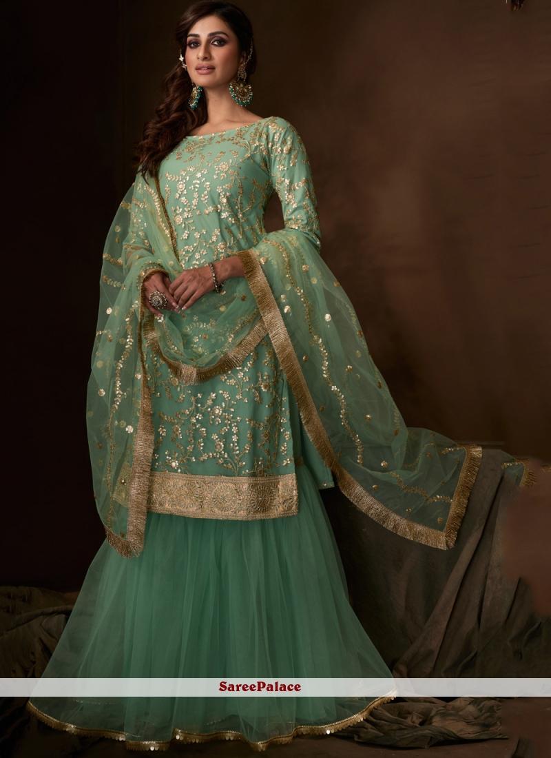 Sea Green Net Salwar Suit