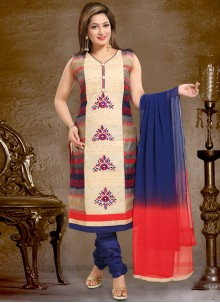 Net Salwar Suit in Blue