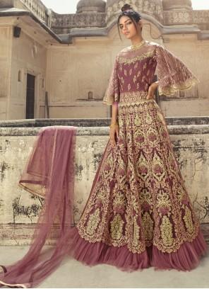 Pink Net Sangeet Designer Long Lehenga Choli
