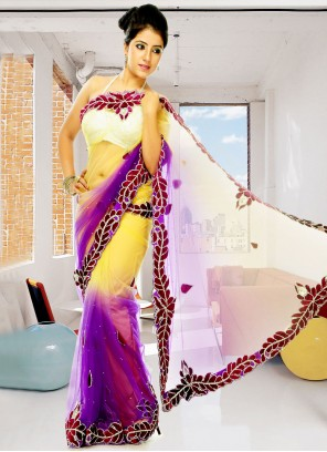 Net Yellow And Purple Sangeet Shaded Saree