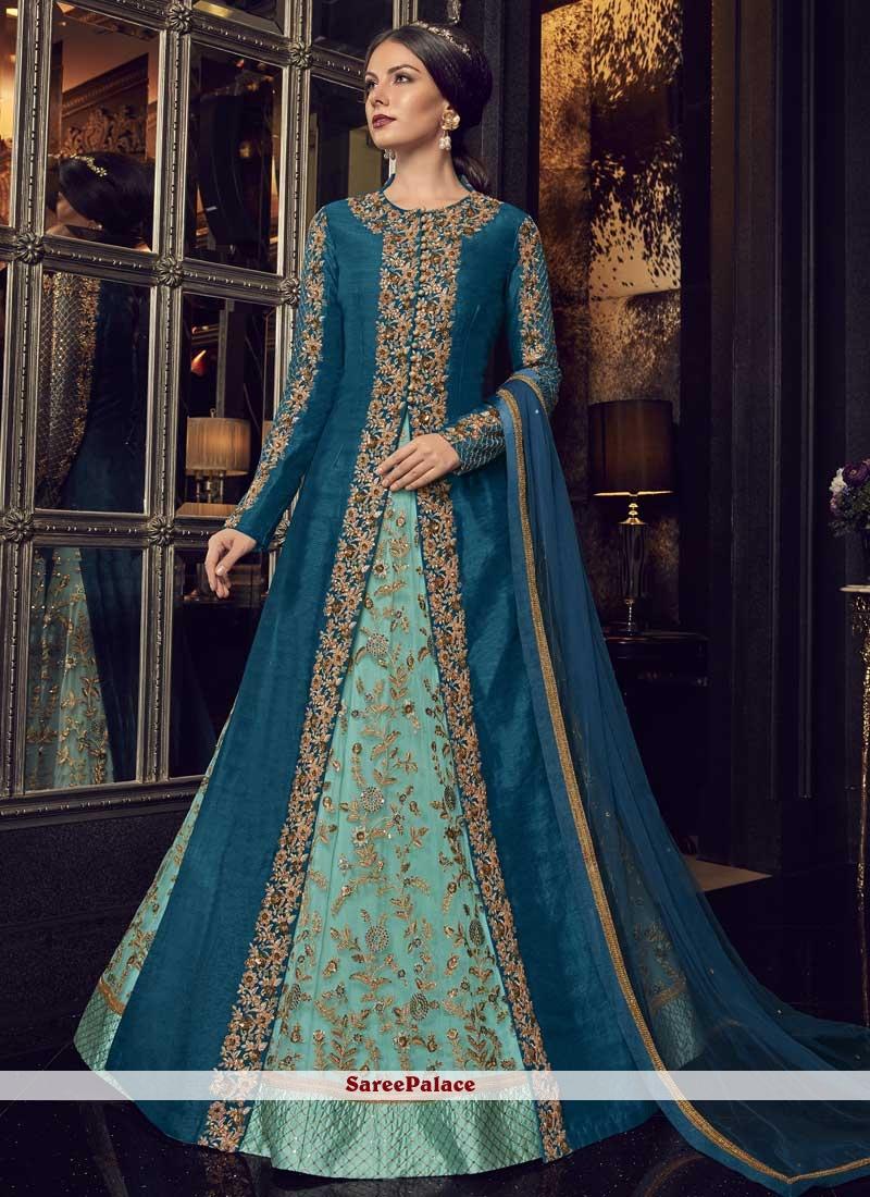 Net Sea Green and Teal Resham Floor Length Anarkali Suit