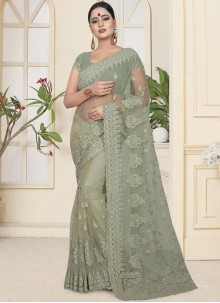 Net Sea Green Traditional Saree