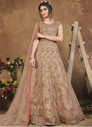 Net Sequins Beige Floor Length Anarkali Suit