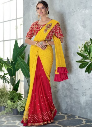Net Sequins Classic Designer Saree in Red and Yellow