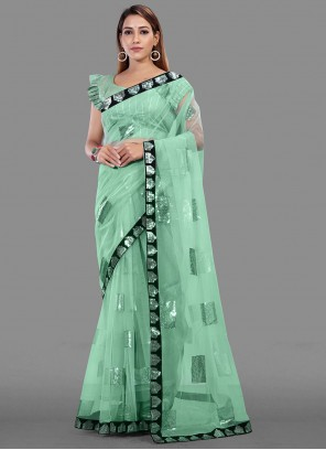 Net Sequins Green Trendy Saree