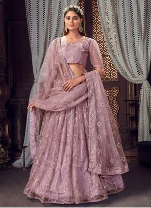 Net Sequins Lavender Designer Lehenga Choli