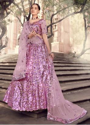 Net Sequins Lavender Lehenga Choli