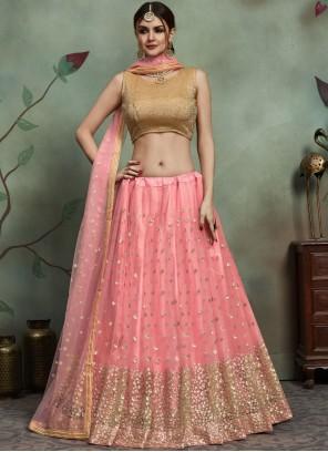 Net Sequins Trendy Lehenga Choli in Pink