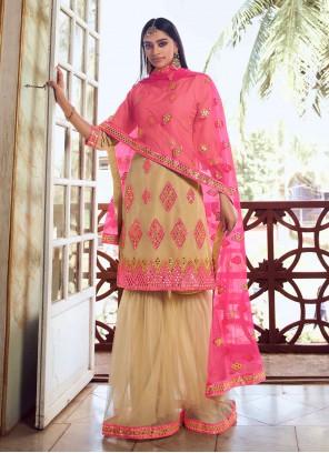 Net Thread Beige Designer Pakistani Salwar Suit