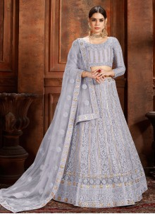 Net Thread Designer Lehenga Choli in Grey