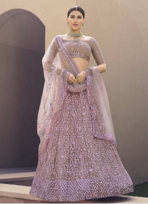 Net Thread Lavender Lehenga Choli