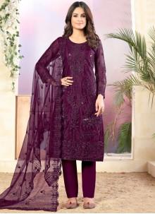 Net Thread Trendy Salwar Kameez in Purple