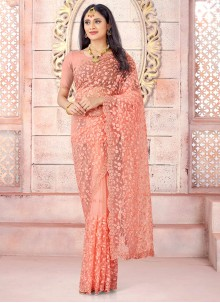 Net Traditional Saree in Peach