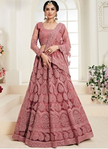 Net Trendy Designer Lehenga Choli in Rose Pink