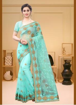 Aqua Blue Net Trendy Saree