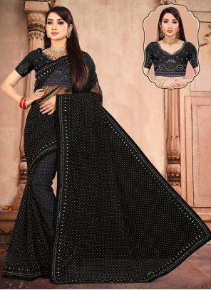 Net Trendy Saree in Black