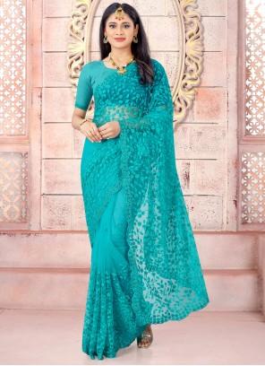 Net Turquoise Resham Trendy Saree